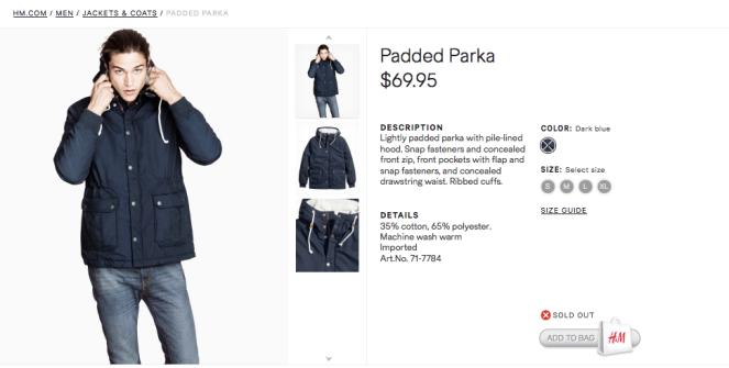 men HM coat
